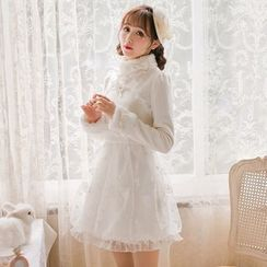 Candy Rain - Furry Trim Stand Collar Lace Panel Long-Sleeve Dress