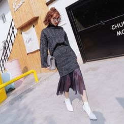 Tang House - Set: Turtleneck Cable-Knit Sweater + Mesh Panel Midi Skirt