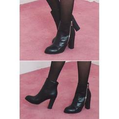 migunstyle - Zip-Detail Chunky-Heel Booties