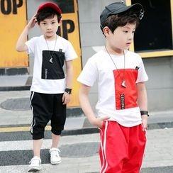 PAM - Kids Set: Applique T-Shirt + Cropped Pants