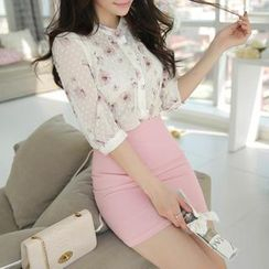 MyFiona - Floral Patterned Sheer Blouse
