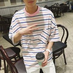 Bay Go Mall - Stripe Drop-Shoulder T-Shirt