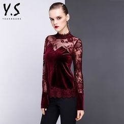 Y:Q - Lace Panel Velvet Long-Sleeve Top