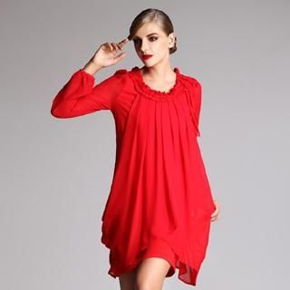 Le Teresa - Long-Sleeve Chiffon-Overlay Frilled Dress