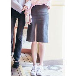 Chlo.D.Manon - High-Waist Slit-Front Skirt
