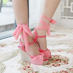 Blingon - Bow Wedge Sandals