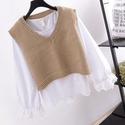 Tulander - Knit Vest / Plain Long Sleeve Blouse