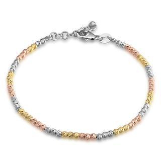 MaBelle - 14K Italian Tri-Color Yellow, Rose and White Gold Diamond-Cut Beads Bracelet (6.5'), Women Girl Jewelry in Gift Box