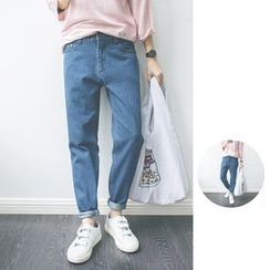 Chuoku - Plain Slim-Fit Jeans