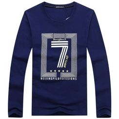Champking - Long-Sleeve Lettering T-Shirt