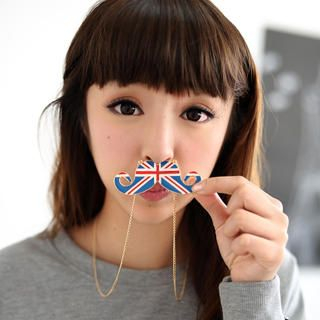 59 Seconds - Union Jack Print Moustache Necklace