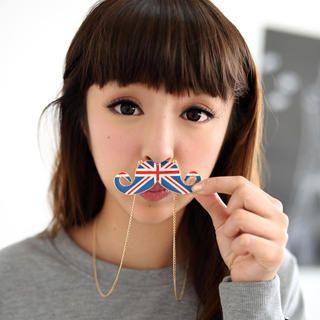 59 Seconds - Union Jack Print Moustache Necklace