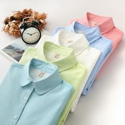 千色衣站 - 長袖刷毛襯裡純色襯衫