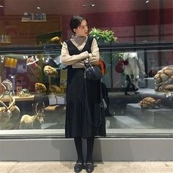 Alfie - 套装: 高领打底衫+V领百褶背心连衣裙