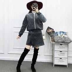 Be Bonita - 套裝: 珠珠菱格夾克 + 裹式短裙