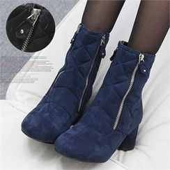 Reneve - Cylinder-Heel Quilted Faux-Suede Short Boots