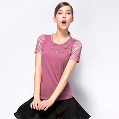O.SA - Short-Sleeve Lace-Trim Applique Top