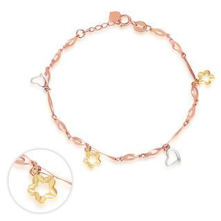 MaBelle - 14K Italian Tri Color Yellow Rose White Gold Diamond-Cut Star Flower Charm Bracelet, Women Girl Jewelry in Gift Box