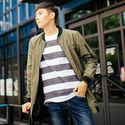 DANGOON - Contrast-Trim Long Jacket