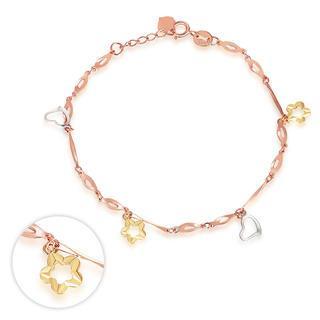 MaBelle - 14K Italian Tri Color Yellow Rose White Gold Diamond-Cut Star Flower Charm Bracelet, Women Girl Jewelry in Gift Box