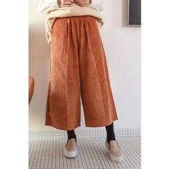 PPGIRL - Band-Waist Corduroy Pants