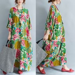 Diosa - Floral Print 3/4-Sleeve A-Line Maxi Dress