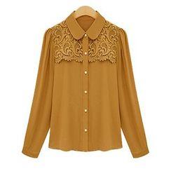 FURIFS - Lace Panel Chiffon Shirt