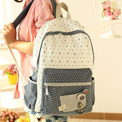 Canvas Love - Anchor & Dot Printed Canvas Backpack