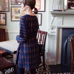 mimi&didi - Cutout-Neckline A-Line Plaid Cotton Dress