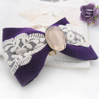 Fit-to-Kill - Lace diamond bow hairpin -purple