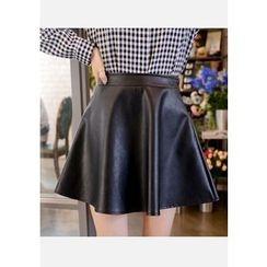 DEEPNY - A-Line Faux-Leather Mini Skirt