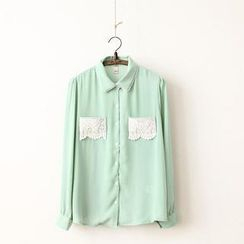11.STREET - Lace-Pocket Chiffon Blouse