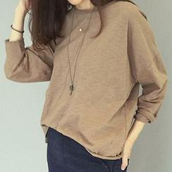 Rollis - Plain Batwing Long-Sleeve T-Shirt