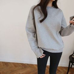 Hello sweety - Brushed Fleece Lined Slit-Cuff Sweatshirt