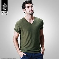 Hey! DUDE - Plain V-neck Linen Cotton Short-Sleeve T-shirt