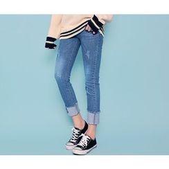 HOTPING - Cuff-Hem Distressed Jeans