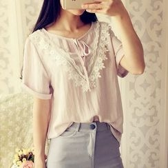 Cobblestone - Short-Sleeve Lace-Trim Top