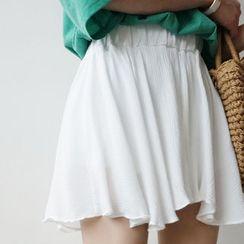 STYLEBYYAM - Inset Shorts Band-Waist A-Line Miniskirt