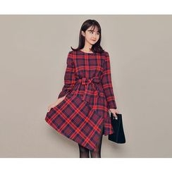 HOTPING - Asymmetric-Hem Checked Dress With Sash