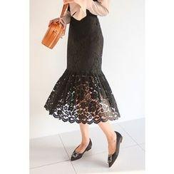 PPGIRL - Ruffle-Hem Laced Midi Skirt