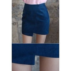 migunstyle - Wrap-Front Faux-Suede Skirt