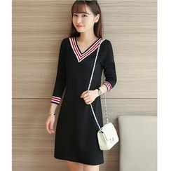 Yinaike - Long-Sleeve V-Neck A-Line Dress