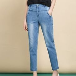 Everose - Washed Slim-Fit Cropped Jeans