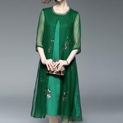Alaroo - 3/4-Sleeve Lace A-line Midi Dress