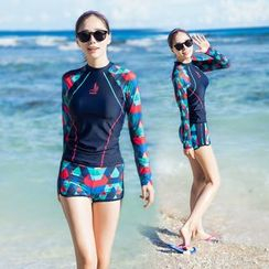 Thein - Set: Patterned Raglan Rashguard + Swim Shorts