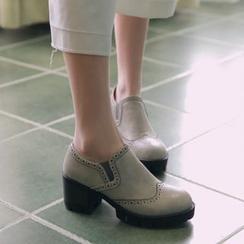 幸福鞋坊 - 粗跟布洛克便鞋