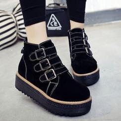 Lutin - Buckled Hidden Wedge Platform High-Top Sneakers