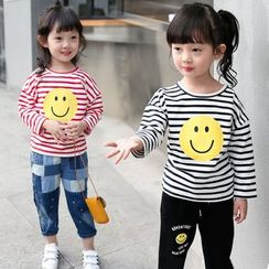 Merry Go Round - Kids Smiley Print Striped Long-Sleeve T-Shirt