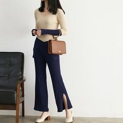 HORG - Set : Colour Block Knit Top + Slit Pants