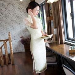 Janelle Qipao - 短袖蕾丝旗袍